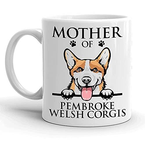 Taza de café de cerámica con diseño de corgis galés de la madre de Pembroke, perro mamá, corgi amantes de los perros regalos de 325 ml, taza de café de cerámica blanca, 11 oz-11 oz
