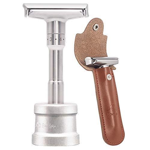 Cuchilla de afeitar clásica ajustable de alta calidad, cuchilla de afeitar afilada y húmeda con cabezal de afeitar de 2 hojas para hombres(1 cuchilla de afeitar + 1 soporte + 1 estuche)