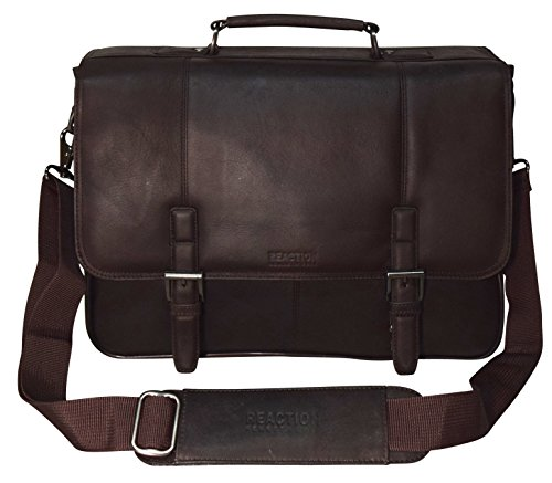 """Kenneth Cole Collection """"A Brief History"""" Leather Flapover Portafolio/ Business Briefcase Bag (Brown)"""