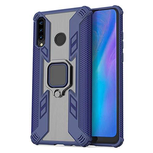 UBERANT Capa para Huawei P30 Lite, com anel de rotação de 360° e patch de metal magnético TPU macio + capa protetora de policarbonato rígido à prova de choque para Huawei P30 Lite/Nova 4e - azul-marinho