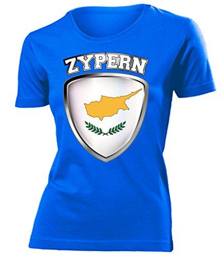 Zypern Cyprus Fan t Shirt Artikel 4711 Fuss Ball World Cup Jersey EM 2020 WM 2022 Trikot Look Flagge Fahne Team Frauen Damen Mädchen XL
