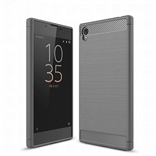 König Design Handy-Hülle kompatibel mit Sony Xperia Z6 Silikon Hülle Hülle Sturzsichere Back-Cover Handyhülle - Carbon - Grau
