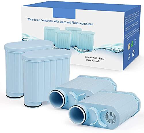 Kaffeefilter kompatibel mit Philips AquaClean, Aktivkohleenthärter Wasserfilter Kalkschutzfilter kompatibel mit CA6903 / 10/00 / 01/22 / 47 (4 Stück)