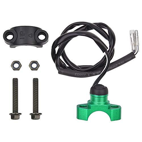 CNC Stop Kill - Botón de interruptor universal de repuesto para ATV Dirt Pit Bike Quad ciclomotor con manillar de 22 mm, resistente al agua y al polvo, color verde