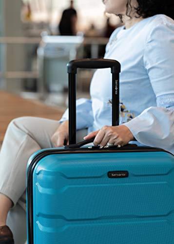 Samsonite Omni PC Hardside Luggage, Caribbean Blue, Checked-Medium