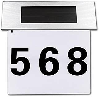 Whitelotous Solar Door Lamp LED House Number Address Sign Doorplate Outdoor House Indicating Lights Decorative Plaque Door