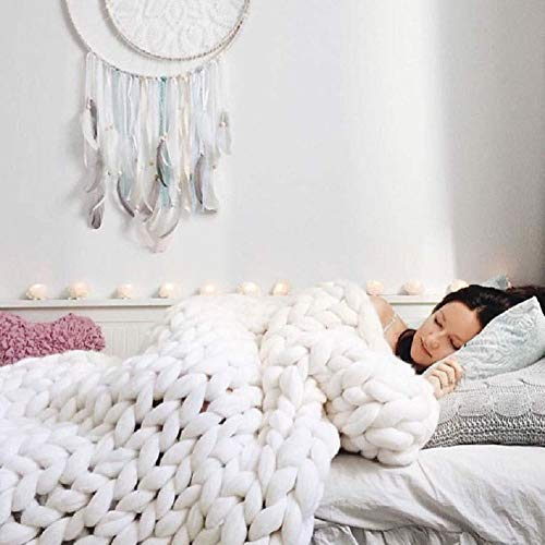 "DIRUNEN Chunky Knit Blanket Handmade by Soft Knitting Throw Bed Bedroom Decor Bulky Sofa White 40""×40"""