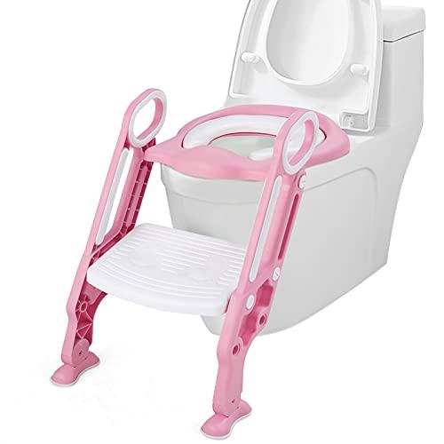 COSTWAY Kinder Toilettensitz höhenverstellbar, Kindertoilette faltbar, Toilettentrainer mit Leiter und Griffe, Töpfchentrainer zum Toilettentraining für Kleinkinder von 1 bis 8 Jahre (Rosa)