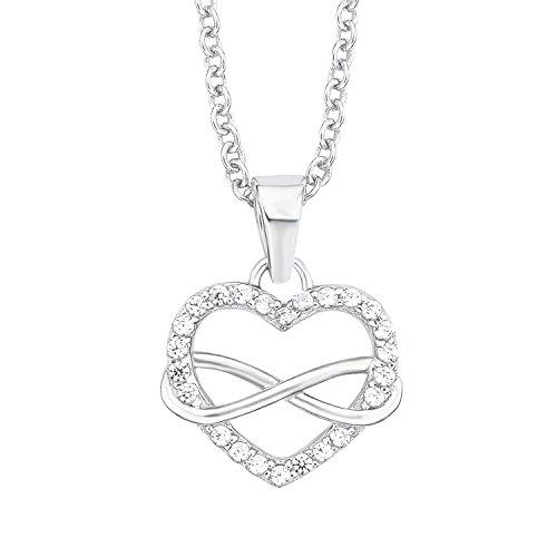 s.Oliver Damen-Halskette mit Herz-Infinity-Anhänger aus 925er Sterling-Silber und Zirkonia weiß