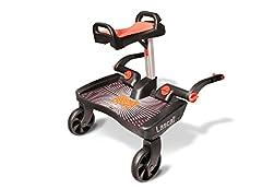 Lascal BuggyBoard Maxi+, buggy voetbord voor kinderen met groot staand gebied en zadel, kinderwagenaccessoires voor kinderen van 2-6 jaar (22 kg), compatibel met bijna elke buggy, zwart*