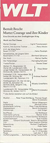 Programmheft Bertolt Brecht MUTTER COURAGE UND IHRE KINDER Premiere 10 September 1981