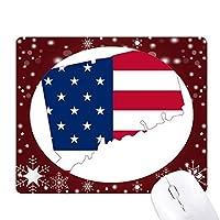 米国のマップトリッパconnectic星旗の形 オフィス用雪ゴムマウスパッド