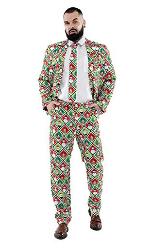 Men's Christmas Party Suit Bachelor Funny Costume Novelty Xmas Regular Fit Suits with Trousers and Tie -Medium – The Usual Season's Suspects