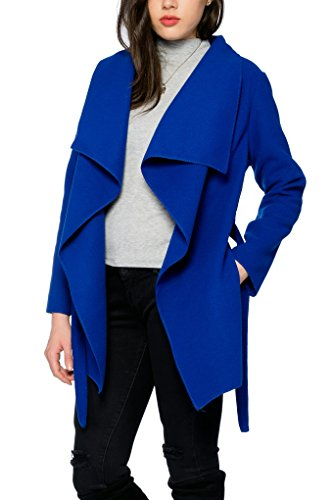 Kendindza Damen Mantel Trenchcoat mit Gürtel OneSize Lang und Kurz (One Size, Royalblau Kurz)