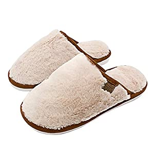 NEDLEDK Mens House Slipper Warm Cozy Wool Women Men Slipper Soft Plush Fleece Indoor or Outdoor Slippers with Anti-Slip Rubber Sole