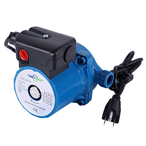 BOKYWOX 110V NPT3/4'' Domestic Hot Water Circulation Pump 3-Speed Hot Water Recirculating Pump 93W Circulator Pump for Solar Heater/Faucet(RS15/6B)