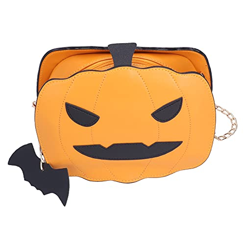 Kürbis Umhängetasche, Handgemachte Kürbis Handtasche Messenger Umhängetasche Halloween Süßigkeiten Tasche Große Kapazität für Kostümparty Verwendung(default)