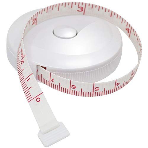 "Dukal Fiberglass Tape Measure with White Plastic Case 1/4"" x 120"". Compact Retractable Flexible Tape Measuring. Body Cloth Measuring Tape. Wear-Resistant Cloth Tape Measure for Clothes, Height."