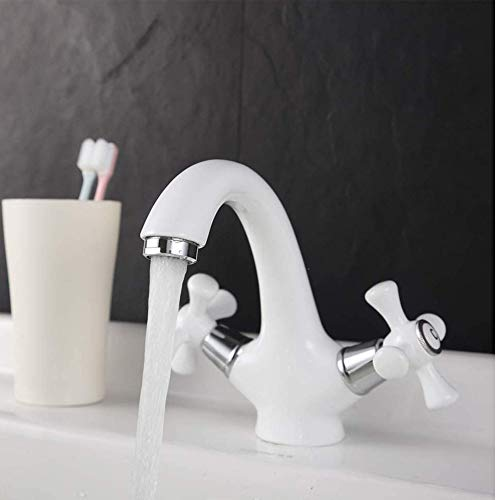BFDMY Europäische Badezimmer Waschbecken Wasserhahn Weiß Waschtischarmatur 2-Griff Heißes Und Kaltes Mischbatterie Bad Armatur Weiß,Weiß