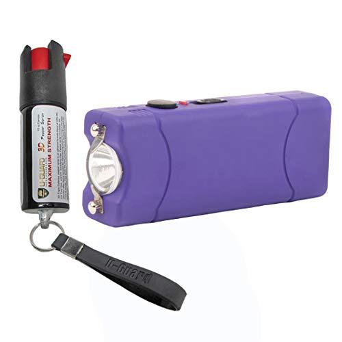 Pepper Spray Keychain Small Stun Gun Self Defense Kit (1) Rechargeable Mini Taser Flashlight (1) Police Pepper Spray 1/2oz Tear Gas. Best Stun Gun For Women or Men. Color (Purple)