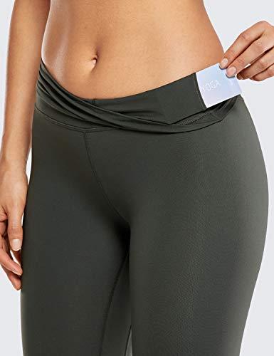 CRZ YOGA Mujer Mallas Deportivo Pantalón Elastico para Running Fitness-71cm Verde Oliva 42