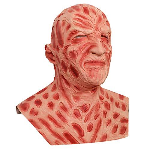 Ginkago Halloween Gruselmaske Fre_ddy Krue_ger Horror Monster Cosplay Kostüm gruselig Realistische Latex-Kopfbedeckung für Männer, Erwachsene, Teenager