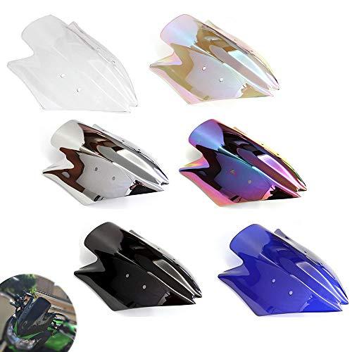 Motorrad Doppelte Blase Windschutzscheibe Windabweiser Motorrad Bildschirm Luftstrom für Kawasaki Z1000 2007 (Schwarz)