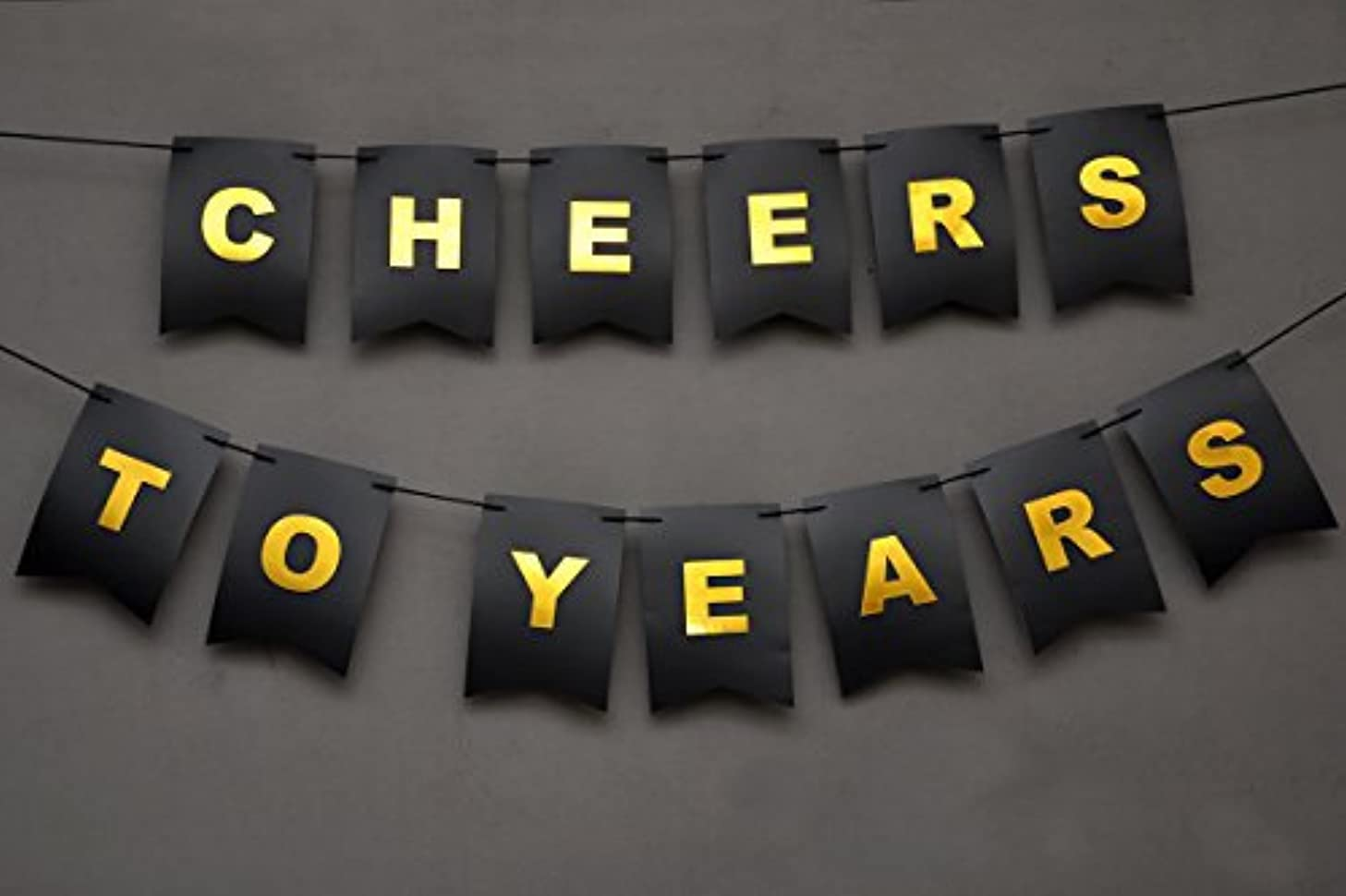 Boston Creative company Cheers to Years Banner Birthday Banner for Her Gold and Black Banner Golden Year Birthday Adult Birthday Decorations Gold Foiled Card Stock Birthday Decorations Black 14