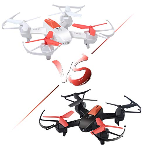 Mini RC Battle Drones Set of 2, F030 Fighting RTF Racing Quadcopters for Kids and Adults, 3D Flips Helicopter with 2.4G 4.5CH 6Axis Gyro/Infrared Emission/Speed Adjustment(Black vs White)