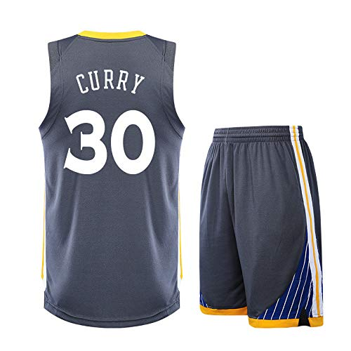 Z/A Golden State Warriors Stephen · Curry # 30 Bestickte Jersey Anzug High-End-Stickerei Handwerk Basketball Einheitliche Benutzerdefinierte DIY Jersey,Grau,2XS