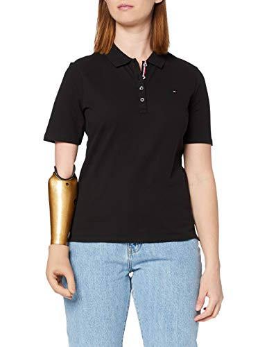 Tommy Hilfiger TH Essential REG Polo SS Camiseta sin Mangas para bebés y niños pequeños, Black, XS para Mujer