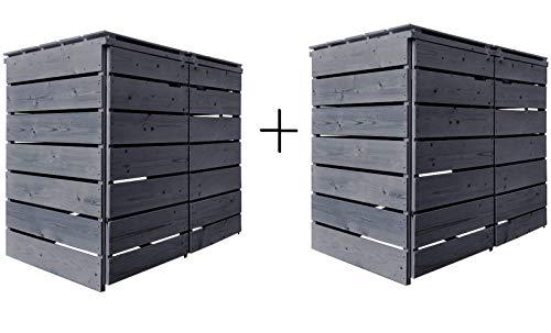 Lukadria Mülltonnenbox Mülltonnenverkleidung Mülltonnecontainer Holz 120L - 240L vorimprägniert in anthrazit mit Rückwand Alster (4 Tonnen)