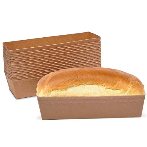 Mini Kraft Paper Loaf Pans for Baking Bread, Oven Safe (7 x 3 x 2 In, 36 Pack)