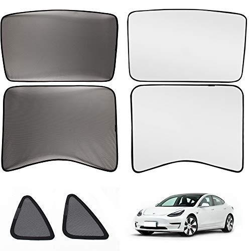 WISAMIC Sonnenschutz Sonnenblende Auto mit UV Schutz und Wärmeisolationsfilm faltbar Fensterschutz Komplett Set für Model 3