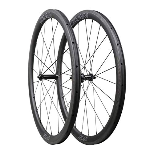 ICANIAN Carbon wielen racefiets 40mm Clincher Tubeless Ready TLR Straight Pull Sapim CX-Ray spaken (snelle en lichte serie) 1400g