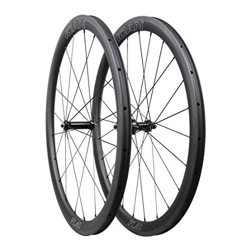 ICANIAN FL40 Ruote da Corsa in Carbonio - per copertoncino con Cerchio TLR (tubeless Ready) - Profilo 40mm - Raggi Sapim Diritti 1400g