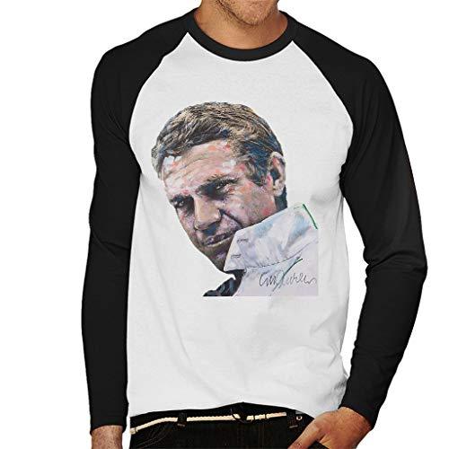 Sidney Maurer Original Portrait of Steve McQueen Men's Baseball Long Sleeved T-Shirt