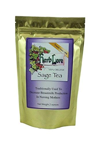 Sage Tea - 60 Cups - Loose Leaf - Helps Stop Breast Milk Production & Dry Up Breastmilk When You Stop Breastfeeding When Weaning Your Baby - Provides Breast Engorgement Relief - Herb Lore