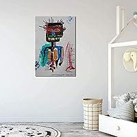バスキアウォールアートポスタープリントポップストリートアートグラフィティバンクシー画像モダン抽象アートキャンバス絵画リビングルーム寝室の装飾40x60cmフレームなしA62