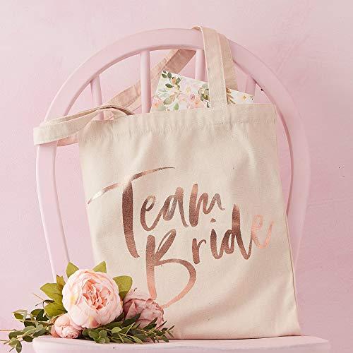 Ginger Ray Einkaufstasche für Junggesellinnenabschied, Motiv: Team Bride, aus Leinen, Rotgold