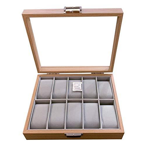 HUVE 10-Slot-Uhren-Vitrine Palisander-Kompaktuhren-Aufbewahrungsbox-Vitrine Mit Transparenter Sicherheitsabdeckung