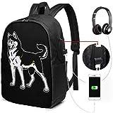 Mochila Unisex con Puerto de Carga USB Siberian Husky Dog Classic Fashion General Business Bookbag