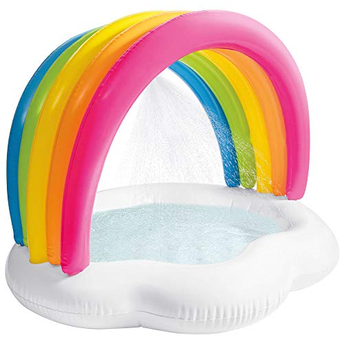 INTEX 57140 - Piscina, piscina hinchable infantil, diseño arcoíris, piscina infantil redonda, pulverizador, suelo acolchado y parasol, piscinas desmontables para niños, piscina bebé 12 meses
