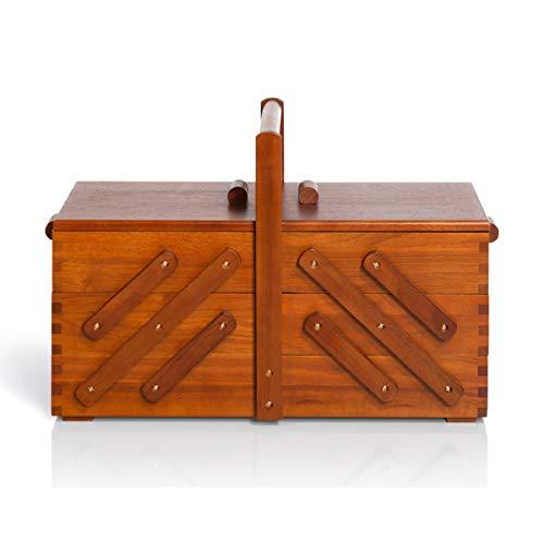Prym 612551 Nähkasten aus dunklem Holz, L Nähkorb, braun, L