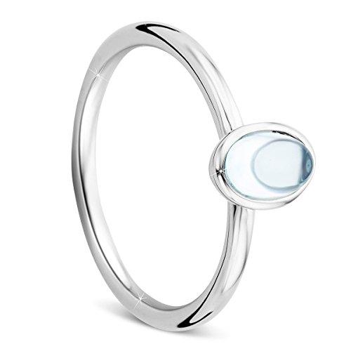 Orovi Ring Sterling Silber 925 Damen-Blautopas Ring Rhodium Plated 0.835crt