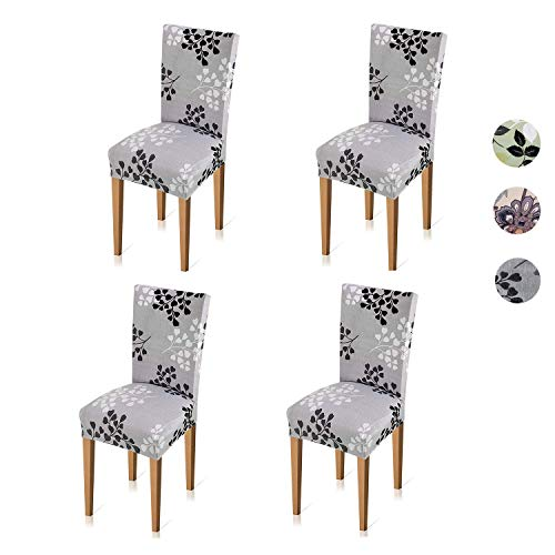 Xflyee Stretch Dining Chair Slipcovers - Jacquard Arm Chair Protector Covers for Living Room Seat Cushion Home Kitchen Parson Arms Chair Slip Covers for Dining Room Removable Washable Set of 4