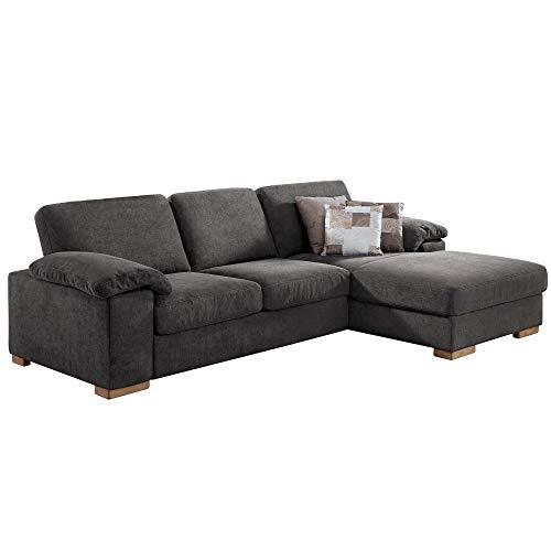 Cavadore Ventere Ecksofa mit Longchair und Wellenunterfederung / Graue Couch im modernen Design / Größe: 277 x 86 x 172 cm (BxHxT) / Farbe: Grau