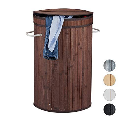 Relaxdays Bambusowy kosz na pranie, okrągły kosz na pranie z pokrywą, 65 l, składany pojemnik na pranie, okrągły Ø 40 cm, brązowy