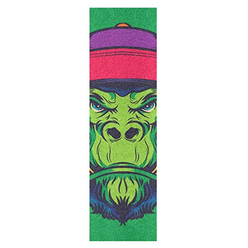 Kühler Grüner Affenaffe Skateboard Griffband Sandpapier Griptape Rutschfestes Blasenfrei Blatt 1 Stück Longboard Aufkleber Scooter 22,9 x 83,8 cm