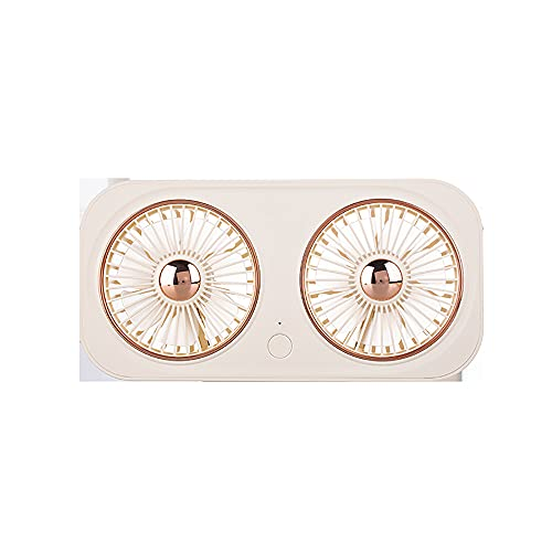 Dyna-Living Ventilador de mesa USB con 3 velocidades, mini ventilador USB portátil, silencioso, ventilador recargable, 5 V, ideal para mesa de oficina, viajes (blanco)